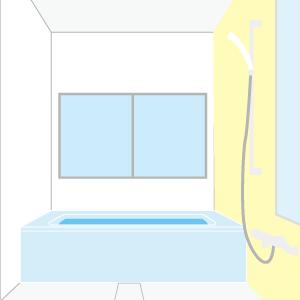 お風呂場全体、排水口